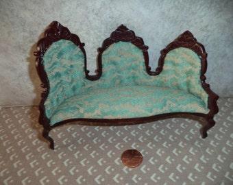 1:12 scale Dollhouse Miniature Dark Cherry Victorian Sofa