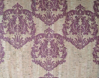 Natural Cork Fabric - Damask Purple