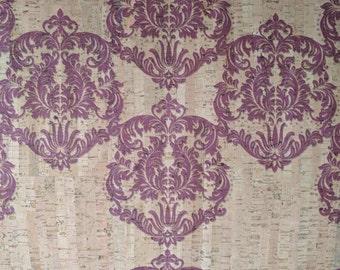 Natural Cork Fabric - Damask Purple