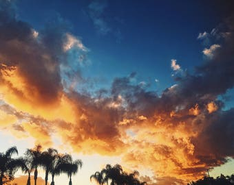 Fiery Sunset, Wall Art Decor, Storm Photography, Cloudscape, Sky Photography, Sunset, Nature Photograph, Los Angeles, Palm Trees