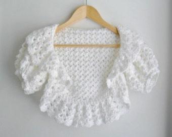 Bridal Shrug, Prom Shrug, Formal White Crochet Shrug, Plus sized Wedding Shawl Shrug, Women's Shrug, Custom Made, Made to Order
