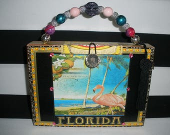 Pink Flamingo Cigar Box Purse, Authentic, Tampa