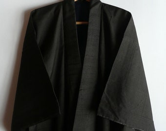 Men's kimono - silk - Japanese vintage - black and brown stripe - formal - WhatsForPudding #1432