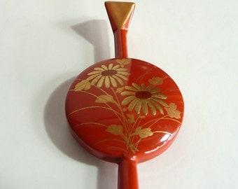 """Vintage kanzashi - hair stick - Japanese vintage - wood - """"urushi"""" lacquer - chrysanthemum and bamboo - WhatsForPudding #1993"""