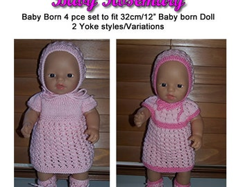 "Baby Born Knitting Pattern (Baby Rosemary) fit 12"" (32cm) dolls Pattern only"
