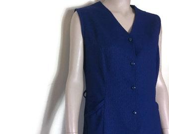 60s navy munimalist dress // retro polyester shirt dress // navy vintage day dress // mod dress // 1960s plain dress