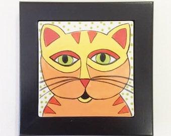 Hand Painted Tile - Ceramic Tile - Cat Tile - Hand Painted Ceramic Tile - Framed Ceramic Tile - Tile Trivet - Cat Lover Gift - Ceramic Tile