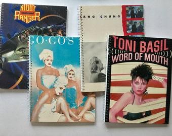 Recycled album cover notebooks. Set of 4. Night Ranger, Go Go's, Toni Basil, Wang Chung