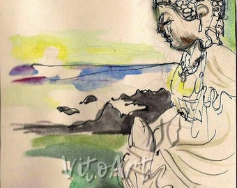 Buddha Sunrise Sunset Meditation Peace Calm Serenity Yoga Ink Watercolor Pastel Illustration Digital Download Instant Download Illustration