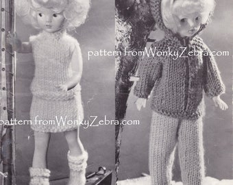 Vintage 12 inch dolls clothes Knitting pattern for Sindy Pattern PDF 1002 basic wardrobe winter summer and boots from WonkyZebra