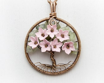 """Tree-Of-Life Necklace Pendant 1.6"""" Copper Wire Wrapped Pendant Green peridot Wired Copper Jewelry Wire Wrapped Tree Pink Necklace Rustic"""