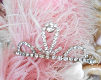 Vintage Prom/Shabby Chic Prong Set Rhinestone Tiara/Crown/Headpiece