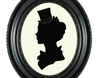 CUSTOM Portrait Silhouette Victorian Steampunk Art Print Empire Rokoko Your Portrait Gift