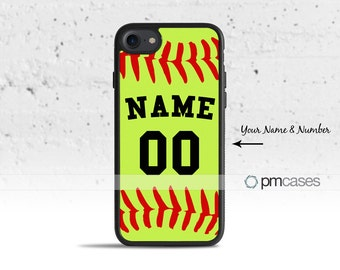 Personalized Softball Case Cover for Apple iPod Touch & iPhone 4/4s/5/5s/5c/6/6s/7/Plus/SE