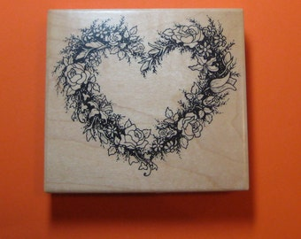 """Heart And Flowers  Wreath  Red Rubber Wood Stamp   Used   4"""" X 3 1/2""""  PSX  K-244"""