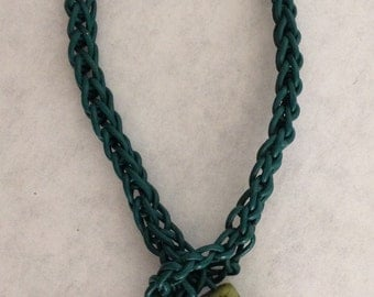 8 in crochet green leather bracelet with Adventurine beads