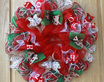 Sale!!!  Christmas wreath, christmas decor, holiday wreath, holiday decor, christmas decorations, hand made, gifts for her, deco mesh wreath