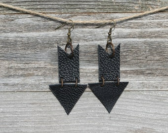 Black Repurposed Leather Dangle Arrow Earrings. Repurposed Leather. Recycled Leather.  Boho Jewelry
