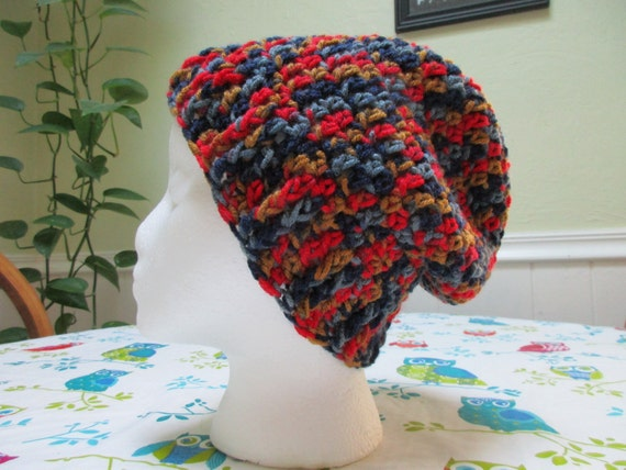 Super Soft Adult Crochet Beanie with Ribbed Cuff in Red, Bronze and Blue