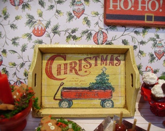 Christmas is coming... Miniature Wooden Tray for Dollhouse 1:12 scale