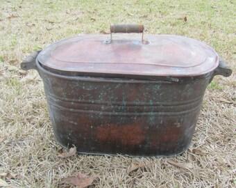 ANTIQUE Copper Kettle with Lid, Wash tub, Antique Wash Tub, Boiling Pot, Farmhouse Decor, Wood Handles