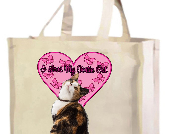 I Love My Tortie Cat Cotton Shopping Bag with gusset and long handles, 3 colour options
