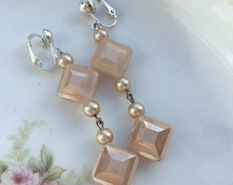 Champagne Peach Shimmery Bridal Clip On Earrings / Pink Pearl Diamond Clip Earring / Bridesmaid Earrings / Prom