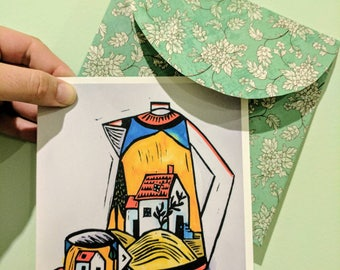 Tea Pot Greeting Card, from the latest series in linocuts by Australian Artist