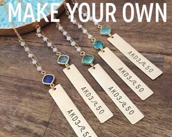 New! Customizable Vertical Brass Bar Necklace