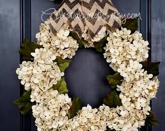 hydrangea wreath - grapevine wreath - monogram wreath - housewarming gift - wreaths