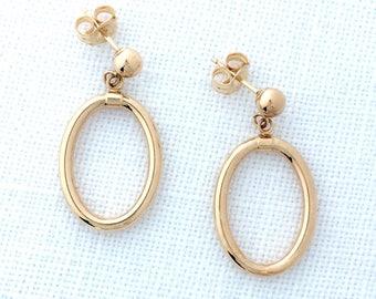 Oval Hoop Earrings 14K Gold Dangling Circles Pierced Post Fine Jewelry Dangles
