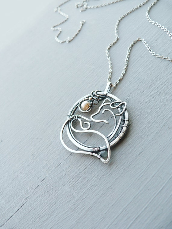 Silver necklace fox 999 fine silver jewelry by ursulajewelry for Fine silver 999 jewelry
