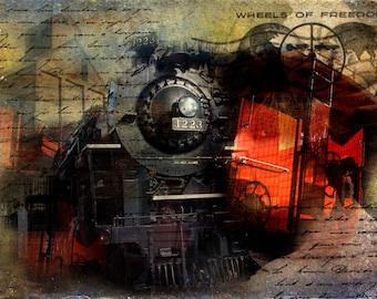 Freedom Train, Train, Red, Black, Locomotive, Engine, Steam Engine, Railway, Liberty Train, Black Train Engine, Caboose