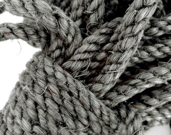 """25' (7.5 m) Gray Sisal Rope, Silver Sisal Rope, Dyed Pewter Color, 1/4"""" or 3/8"""" or 1/2"""" (6 mm, 10 mm or 12 mm)"""