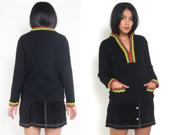 Vintage 60s Black Red Yellow Green Crochet Trim Wool Pullover Sweater Hippie