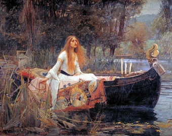 The Lady of Shalott, John William Waterhouse, 1888, Red Haired Woman in Boat