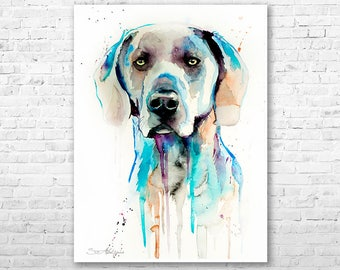 Weimaraner watercolor painting print by Slaveika Aladjova, animal, illustration, home decor, Nursery, Contemporary, dog art, wall art