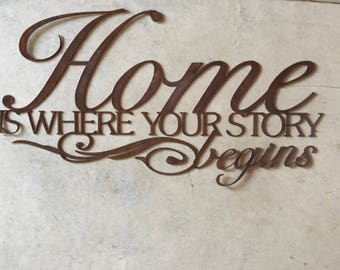 """Beautiful, Metal """" HOME Is Where Your STORY BEGINS"""""""