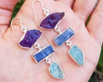 Handcrafted Natural Raw Amethyst, Kyanite & Aquamarine Gemstone Dangle Earrings