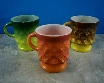 Vintage Set of Fire King Kimberly Ombre Mugs - Green, Orange, Gold