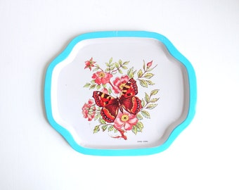 Vintage Tray, Metal Tray, Floral Tray, Butterfly Tray, Small Metal Tray, Blue Tray, Small Tray, Small Blue Tray, Trinket Dish, Jewelry Tray