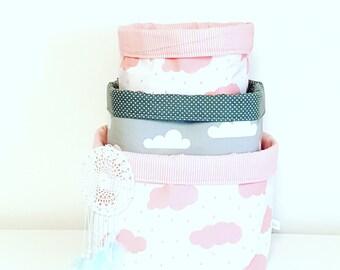 Pink and grey cloud fabric storage basket. Organizer, container, basket bin. Nappy basket, toy storage, nursery decor, kids room.