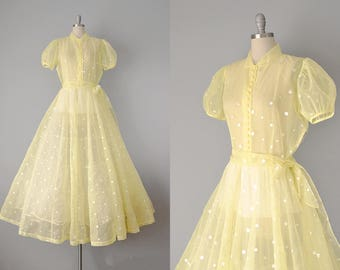 40s Dress // 1940s Yellow Embroidered Dot Organdy Gown // Large
