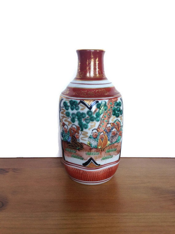 Japanese hand painted vase vintage crackle ceramic asian home decor