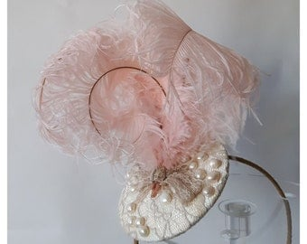 Pale gold lace headpiece with freshwater pearls, and ostrich feathers