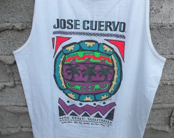 Vintage Tank Jose Cuervo Tequila Early 1990s Hipster Beach Pro Beach Volleyball sz fits Medium Neon Colors