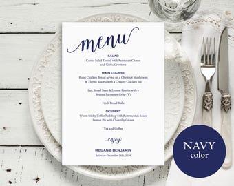 Wedding Menu Template, Wedding Menu Printable, Navy Menu Card, DIY Menu Template, Instant Download, Dinner Menu, Menu Printable, MM01-4