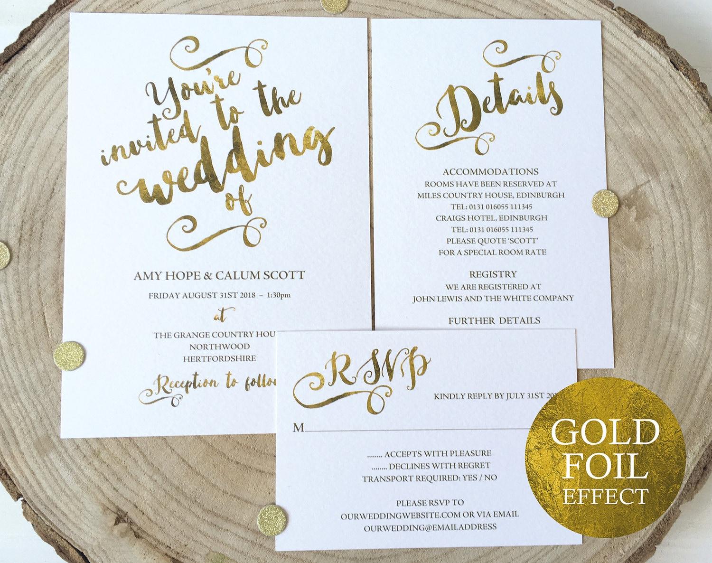 Wedding Invite Templates Uk: Gold Wedding Invitation Template Wedding Invitation Template