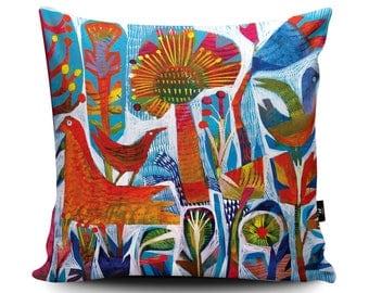 Orange Birds, Orange Floral Decorative Pillow, Tropical Pattern Cushion by Este MacLeod, Birds of Paradise, Flowers Pillow, Floral Cushion