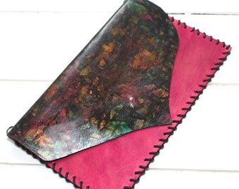 Hot Pink Clutch Bag, Purse. Hand Painted Unique Jewelled Clutch
